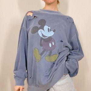 Disney Mickey Mouse Distressed Crewneck Sweatshirt